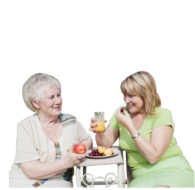a lady and an old woman eating fruits